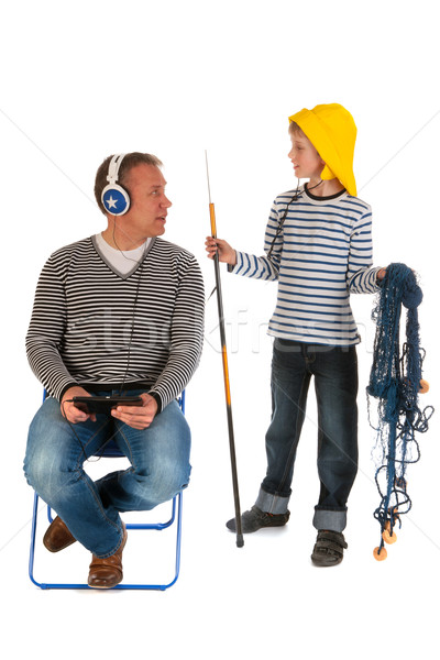 ストックフォト: 少年 · 外に · 釣り · 父 · コンピュータ