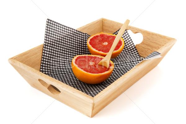 Pomelo dieta cuchara bandeja frutas fondo Foto stock © ivonnewierink