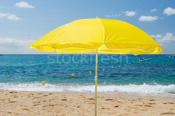 黄色 パラソル 夏 ビーチ 水 風景 ストックフォト © ivonnewierink
