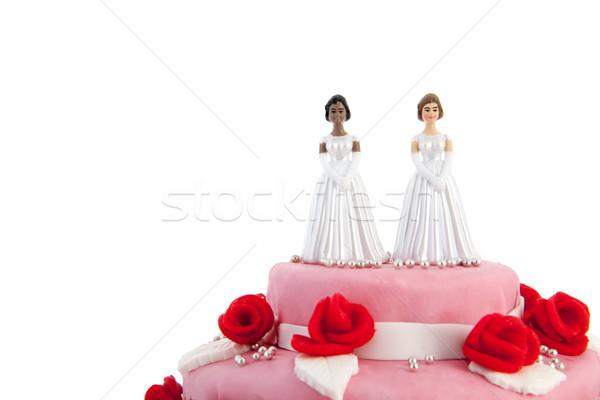 Esküvői torta leszbikus pár rózsaszín vörös rózsák felső Stock fotó © ivonnewierink