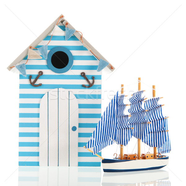 Beach hut and boat Stock photo © ivonnewierink