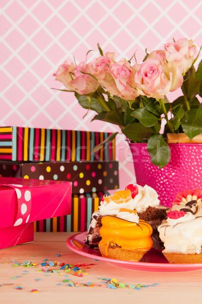 Birthday presents and fancy cakes Stock photo © ivonnewierink