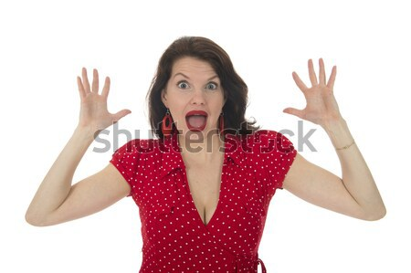Emotional amazement portrait of surprised woman. Studio isolated portrait. Stock photo © ivonnewierink