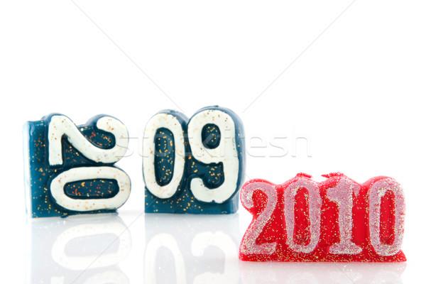 Nieuwjaar jaar 2010 kaarsen oude nieuwe Stockfoto © ivonnewierink