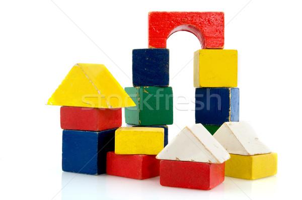 Renkli bağbozumu Bina mavi mimari oynamak Stok fotoğraf © ivonnewierink
