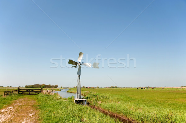 Watermill in vertical Dutch landscape  Stock photo © ivonnewierink
