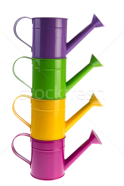 Colorful stacked watering cans Stock photo © ivonnewierink