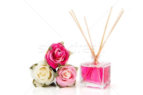 Rosen duftenden Flasche Seide Schönheit weiß Stock foto © ivonnewierink