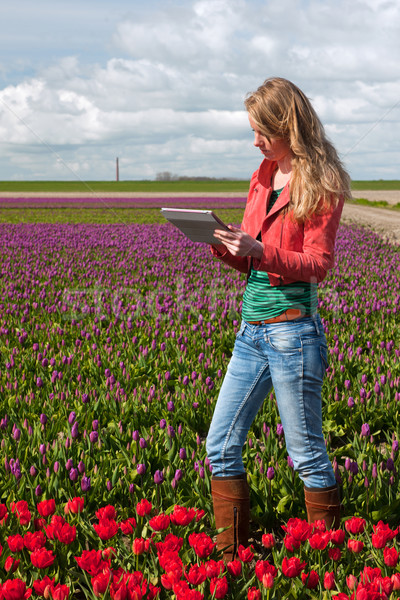 Dutch girl with tablet PC Stock photo © ivonnewierink