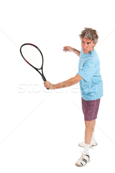 Stockfoto: Tennisspeler · man · spelen · tennis · gezicht · zomer