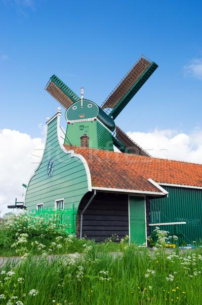 Windmill at Dutch Zaanse Schans Stock photo © ivonnewierink