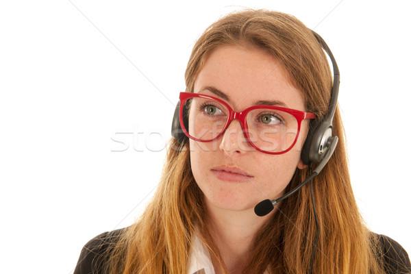 Telefoon blond vrouw hoofdtelefoon geïsoleerd Stockfoto © ivonnewierink