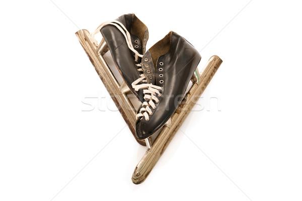 Foto stock: Utilizado · masculina · hielo · patines · aislado · blanco