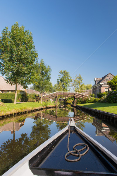 Stockfoto: Boot · nederlands · dorp · water · bruggen · architectuur