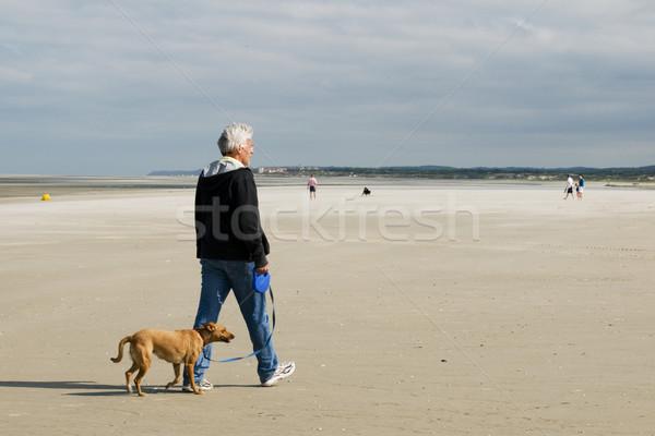 Senior man is walking his dog Stock photo © ivonnewierink