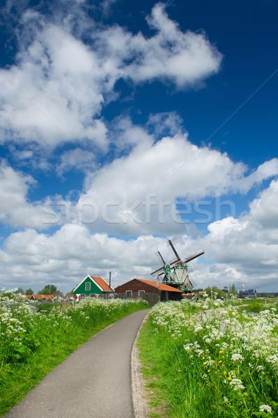 Windmills at Dutch Zaanse Schans Stock photo © ivonnewierink