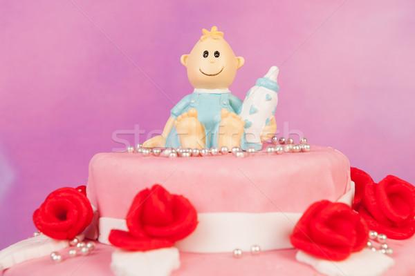 Bebê nascido cartão rosa azul amor Foto stock © ivonnewierink