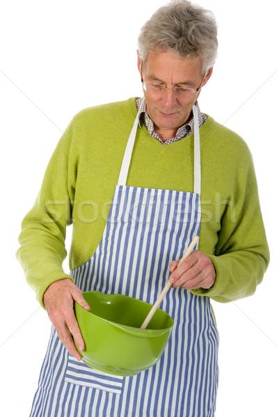 Człowiek starszych żywności włosy łyżka Zdjęcia stock © ivonnewierink