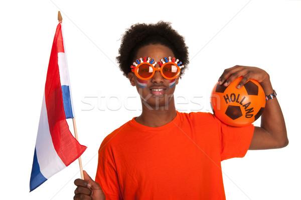 Stock fotó: Afroamerikai · holland · futball · rajongó · fekete · sport