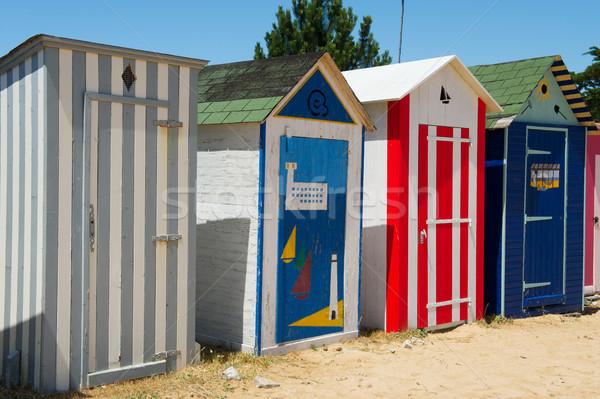 Stok fotoğraf: Plaj · ada · Fransa · renkli · mavi · kum