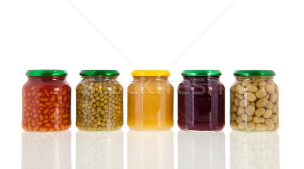 Csetepaté dobozos zöldségek üveg izolált fehér Stock fotó © ivonnewierink
