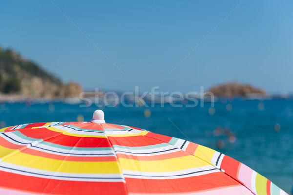 Beach with parasols Stock photo © ivonnewierink