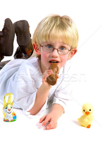 еды шоколадом Пасху заяц мало мальчика Сток-фото © ivonnewierink