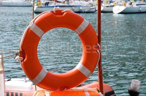 Cankurtaran simidi tahta su deniz tekne gemi Stok fotoğraf © ivonnewierink