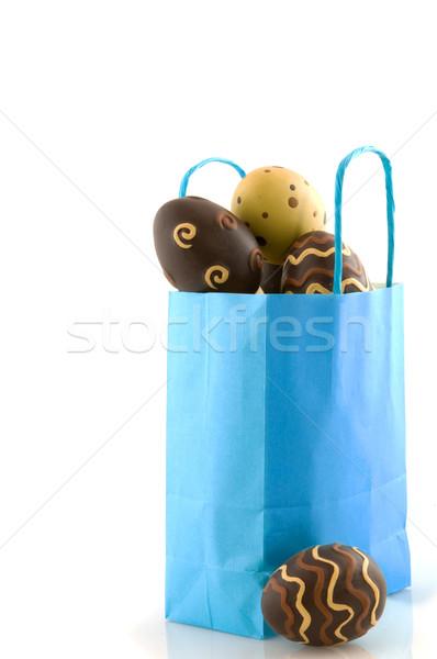ストックフォト: 青 · 袋 · イースターエッグ · 紙袋 · 孤立した · 白