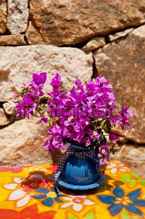 Natürmort buket mavi vazo yaz hasır şapka Stok fotoğraf © ivonnewierink