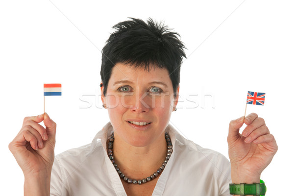Young woman with English Dutch flags Stock photo © ivonnewierink