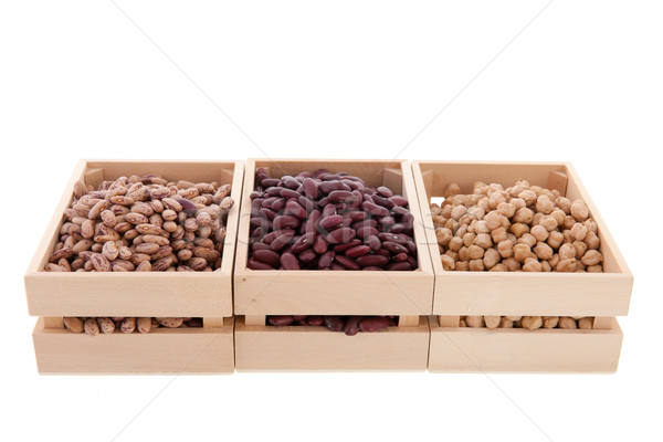 Legumes in wooden crates Stock photo © ivonnewierink
