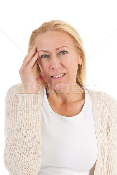 Foto stock: Mujer · maduro · edad · dolor · de · cabeza · rubio · aislado