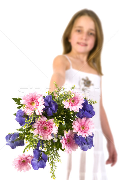 Girl with colorful bouquet Stock photo © ivonnewierink