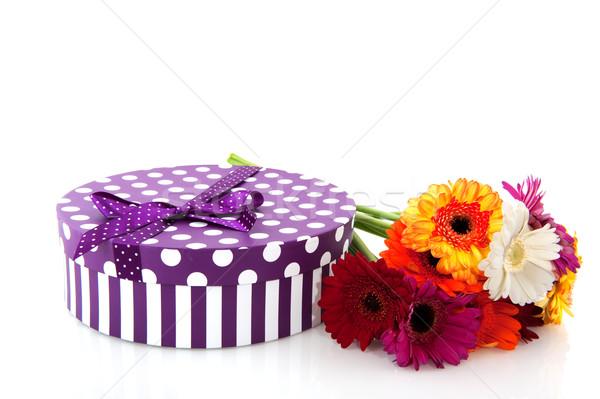 Purple present with flowers Stock photo © ivonnewierink