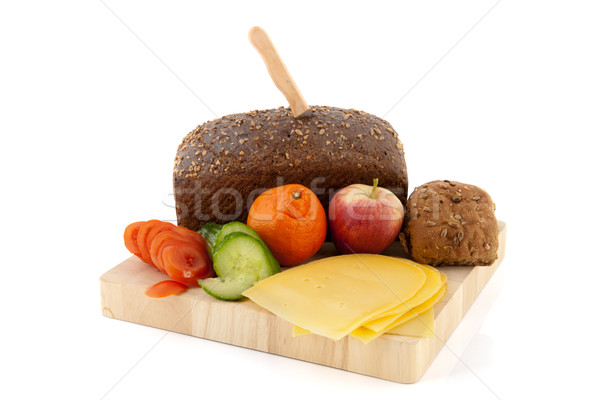 Healthy brown bread with cheese Stock photo © ivonnewierink