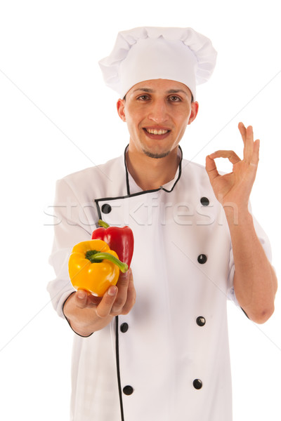 Satisfied cook with fresh paprikas Stock photo © ivonnewierink