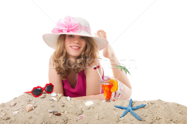 Young woman on vacation at the beach Stock photo © ivonnewierink