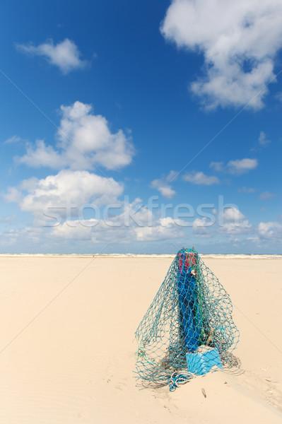 木製 ポール 漁網 ビーチ オランダ語 島 ストックフォト © ivonnewierink