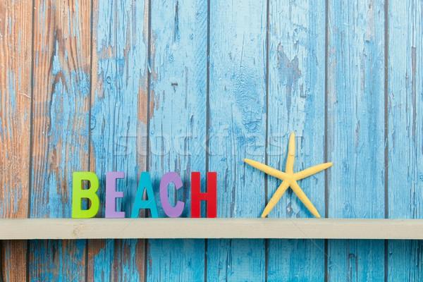 Plaj kulübe plaj denizyıldızı eski ahşap ahşap Stok fotoğraf © ivonnewierink