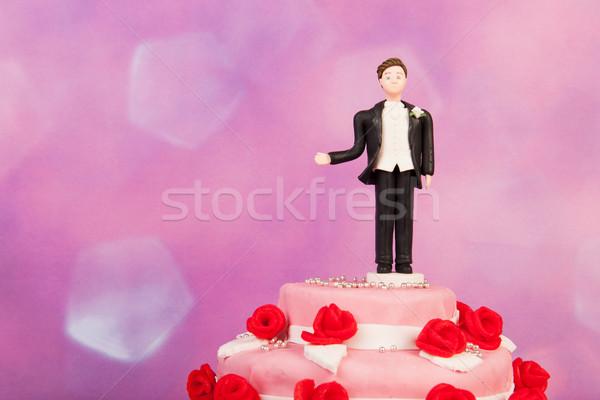 разведенный человека статуэтка только свадебный торт свадьба Сток-фото © ivonnewierink