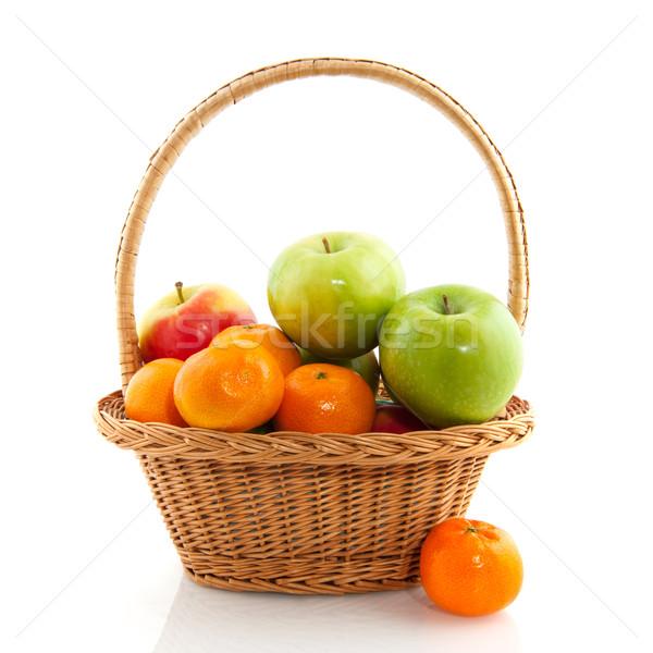 Cesta maçãs fresco isolado branco comida Foto stock © ivonnewierink