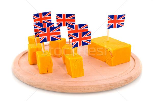 Kockák cheddar sajt Anglia zászlók Stock fotó © ivonnewierink