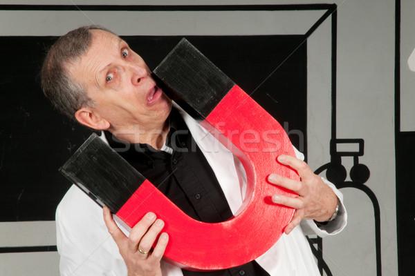Professor is testing magnetism Stock photo © ivonnewierink