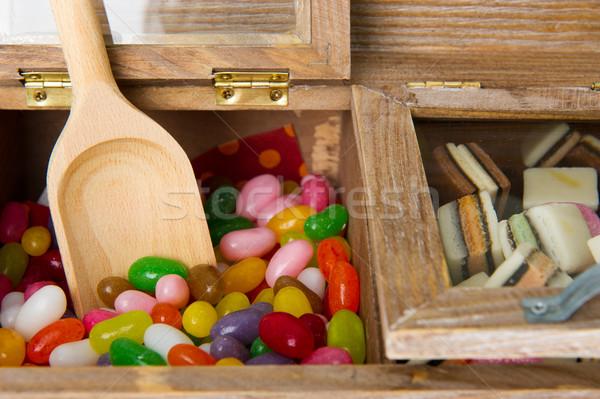 Stockfoto: Snoep · bar · houten · snoep · geïsoleerd