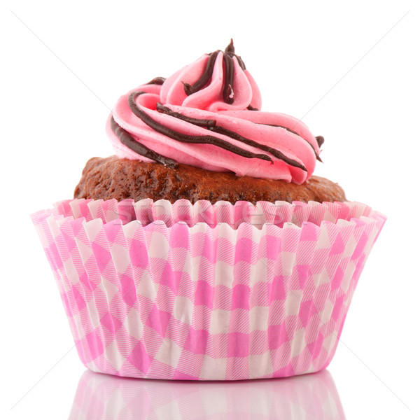 Csokoládé minitorta rózsaszín vajkrém dekoráció háttér Stock fotó © ivonnewierink