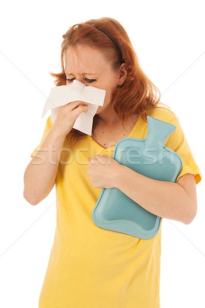 Vermelho mulher assoar o nariz quente amarelo camisas Foto stock © ivonnewierink