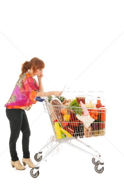 Stock fotó: Nő · bevásárlókocsi · tele · tejgazdaság · élelmiszer · olvas