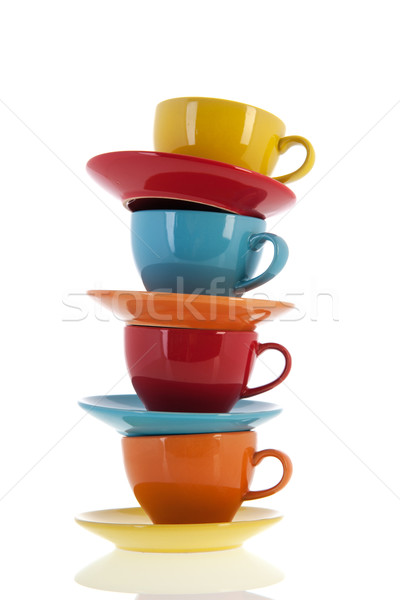 Colorful cups and saucers Stock photo © ivonnewierink