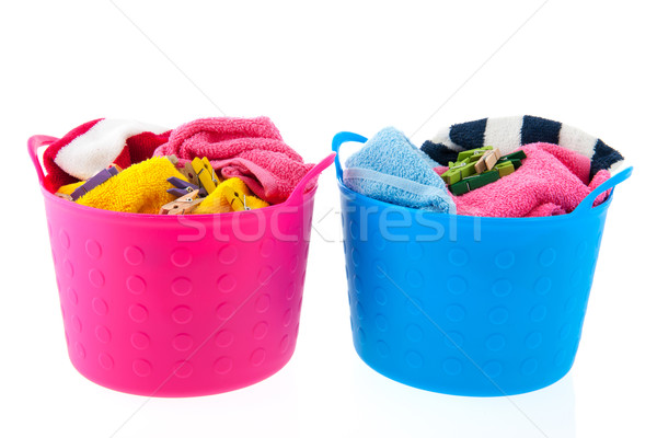 Laundry baskets in pink and blue Stock photo © ivonnewierink